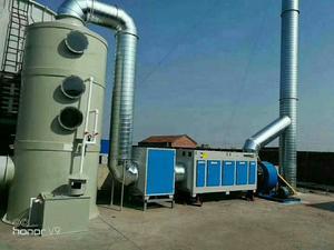 喷淋塔预处理 + 低温等离子